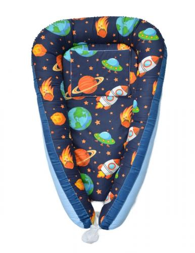 Cuib bebelusi ingrid's fabrics space baby blue bumbac 100% - Camera bebelusului - Baby nest