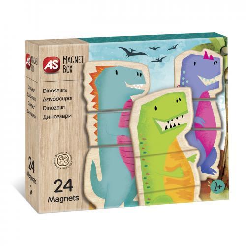 Cutie universul dinozaurilor cu 24 piese din lemn si magnetice - Jocuri pentru copii - Jocuri societate