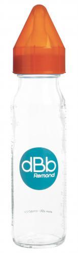 "dBb Remond - Biberon sticla 240 ml - ""Regul' Air"" - tetina anticolici din silicon NN 0-4 luni (orange) - Hrana bebelusi - Biberoane"