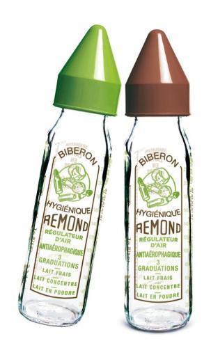 "dBb Remond - Biberon sticla 240 ml - ""Vintage"" - maro - tetina anticolici din silicon NN 0-4 luni - Hrana bebelusi - Biberoane"