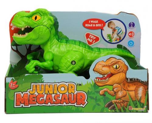 DINOZAUR Junior cu sunete si functie de mers T-Rex Verde - Jucarii copilasi - Jucarie interactiva