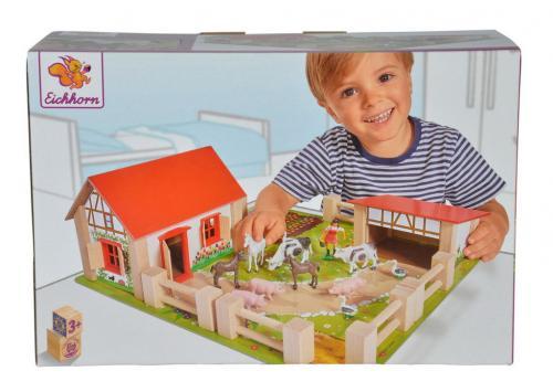 Ferma 38x35 cm cu 21 de accesorii - Jucarii Montessori -