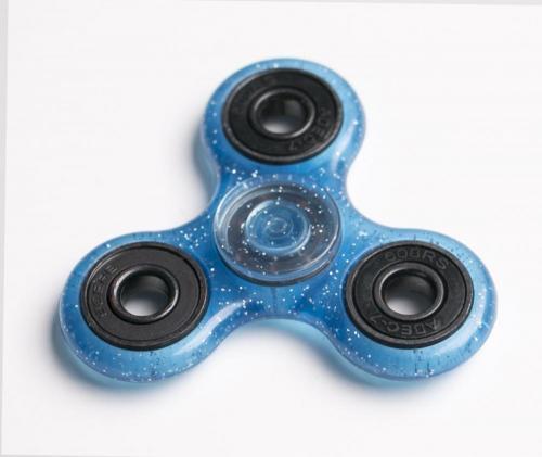 Fidget Spinner cu sclipici - albastru - Jucarii copilasi -