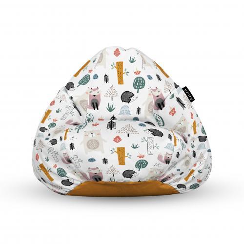 Fotoliu units puf (bean bags) tip para - impermeabil - cu maner - 100x80x70 cm - arici si vulpe alb - Camera bebelusului - Bean bags