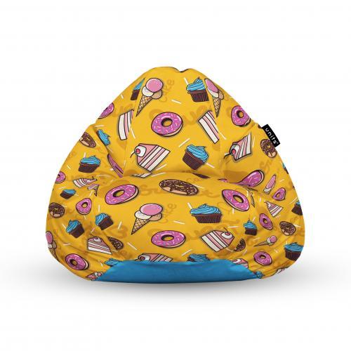 Fotoliu units puf (bean bags) tip para - impermeabil - cu maner - 100x80x70 cm - cake and ice-cream - Camera bebelusului - Bean bags