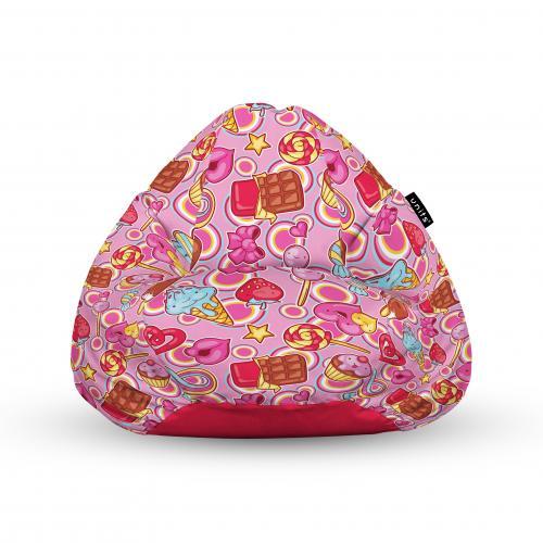 Fotoliu units puf (bean bags) tip para - impermeabil - cu maner - 100x80x70 cm - candies fundal roz - Camera bebelusului - Bean bags