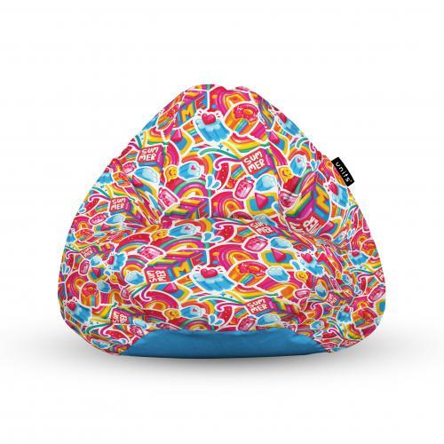 Fotoliu units puf (bean bags) tip para - impermeabil - cu maner - 100x80x70 cm - candy rainbows - Camera bebelusului - Bean bags