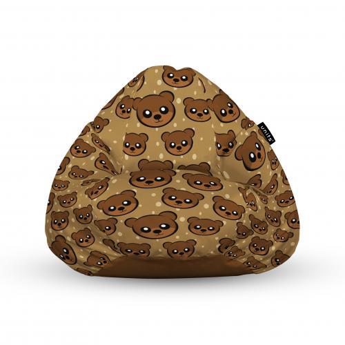 Fotoliu units puf (bean bags) tip para - impermeabil - cu maner - 100x80x70 cm - cute brown bear - Camera bebelusului - Bean bags