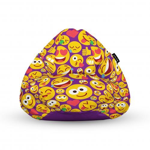 Fotoliu units puf (bean bags) tip para - impermeabil - cu maner - 100x80x70 cm - emoji - Camera bebelusului - Bean bags