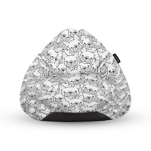 Fotoliu units puf (bean bags) tip para - impermeabil - cu maner - 100x80x70 cm - frenchies albi - Camera bebelusului - Bean bags