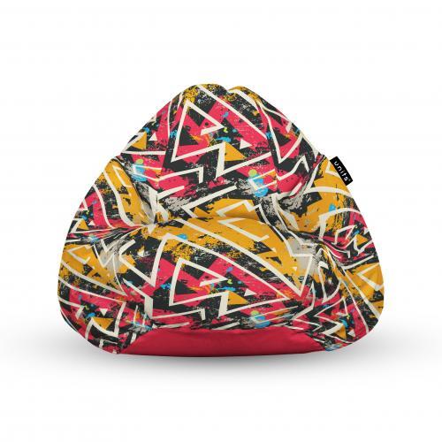 Fotoliu units puf (bean bags) tip para - impermeabil - cu maner - 100x80x70 cm - graffiti grunge geometric - Camera bebelusului - Bean bags