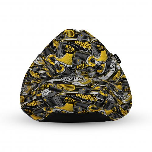Fotoliu units puf (bean bags) tip para - impermeabil - cu maner - 100x80x70 cm - graffiti retro negru si galben - Camera bebelusului - Bean bags
