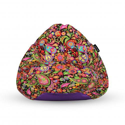 Fotoliu units puf (bean bags) tip para - impermeabil - cu maner - 100x80x70 cm - hippie peace - Camera bebelusului - Bean bags