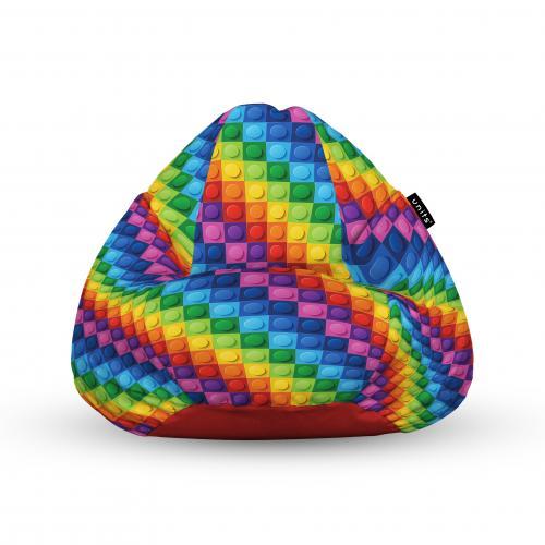 Fotoliu units puf (bean bags) tip para - impermeabil - cu maner - 100x80x70 cm - lego abstract - Camera bebelusului - Bean bags