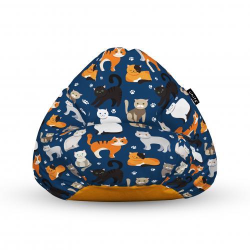 Fotoliu units puf (bean bags) tip para - impermeabil - cu maner - 100x80x70 cm - pisici fundal albastru - Camera bebelusului - Bean bags
