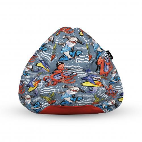 Fotoliu units puf (bean bags) tip para - impermeabil - cu maner - 100x80x70 cm - surfing sharks - Camera bebelusului - Bean bags