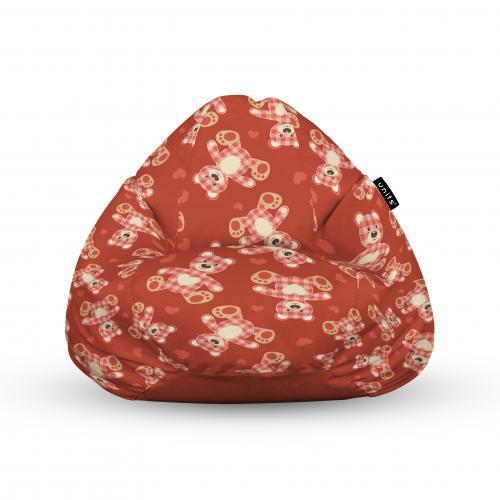 Fotoliu units puf (bean bags) tip para - impermeabil - cu maner - 100x80x70 cm - teddy bear caramiziu - Camera bebelusului - Bean bags
