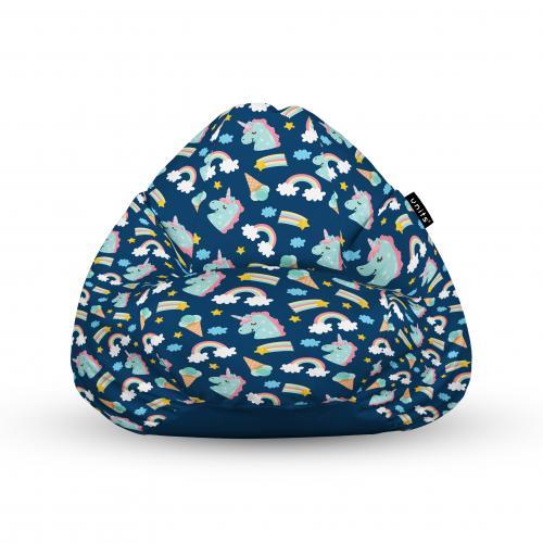 Fotoliu units puf (bean bags) tip para - impermeabil - cu maner - 100x80x70 cm - unicorns and ice-cream - Camera bebelusului - Bean bags