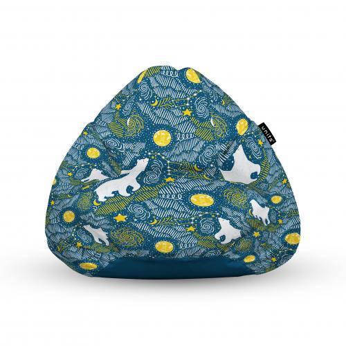 Fotoliu units puf (bean bags) tip para - impermeabil - cu maner - 100x80x70 cm - ursi polari - Camera bebelusului - Bean bags