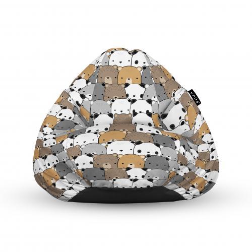 Fotoliu units puf (bean bags) tip para - impermeabil - cu maner - 100x80x70 cm - ursuleti maro - Camera bebelusului - Bean bags