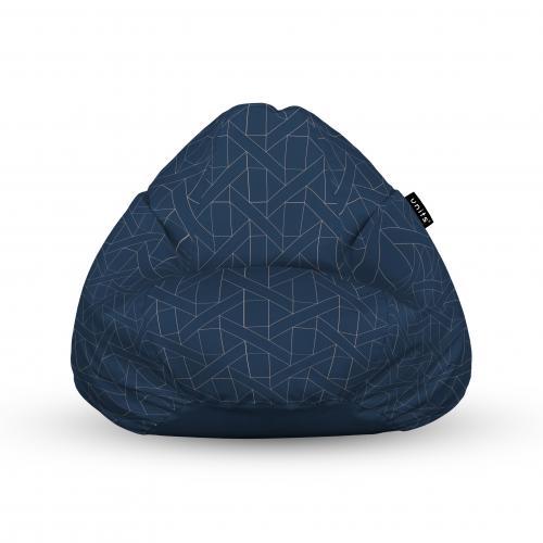 Fotoliu units puf (bean bags) tip para - impermeabil - cu maner - albastru inchis si linii bej - Camera bebelusului - Bean bags