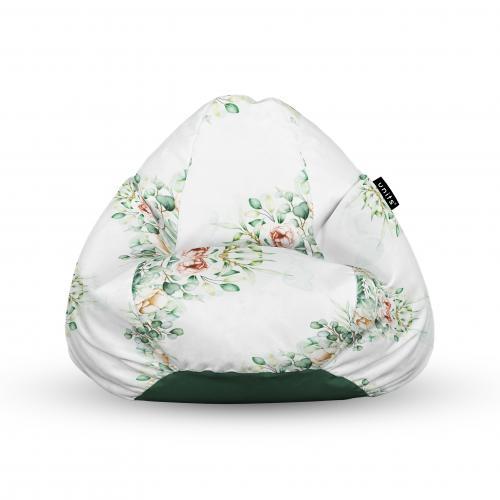 Fotoliu units puf (bean bags) tip para - impermeabil - cu maner - floral alb - Camera bebelusului - Bean bags