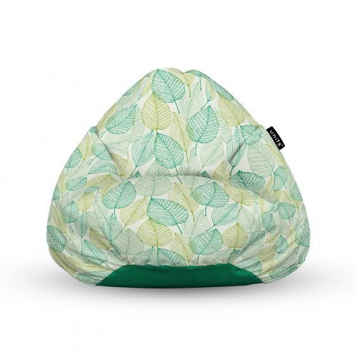 Fotoliu units puf (bean bags) tip para - impermeabil - cu maner - frunze verzi si galbene - Camera bebelusului - Bean bags