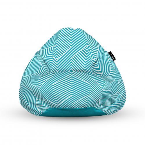 Fotoliu units puf (bean bags) tip para - impermeabil - cu maner - motiv alb cu bleu - Camera bebelusului - Bean bags