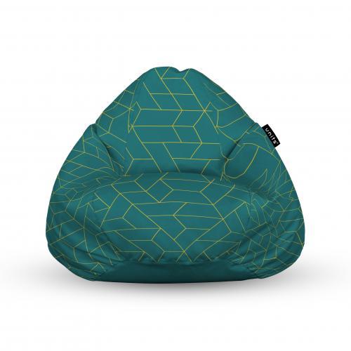 Fotoliu units puf (bean bags) tip para - impermeabil - cu maner - turcoaz inchis si linii aurii - Camera bebelusului - Bean bags