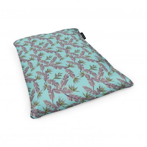 Fotoliu units puf (bean bags) tip perna - impermeabil - cian cu frunze gri - Camera bebelusului - Bean bags