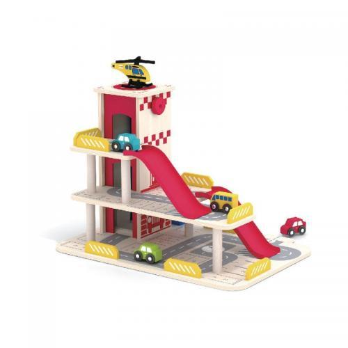 Garaj din lemn cu lift mobil Smily Play - Jucarii Montessori -