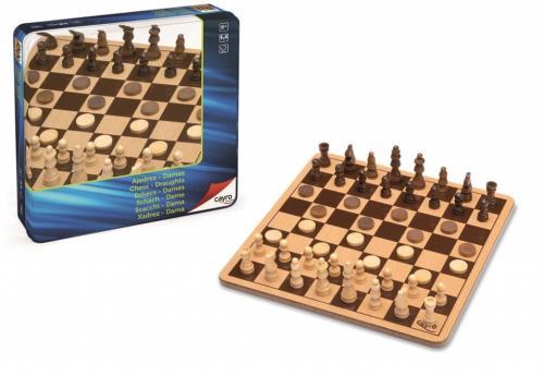 Jocuri SAH si DAME in cutie metalica - Cayro - Jocuri pentru copii - Jocuri societate