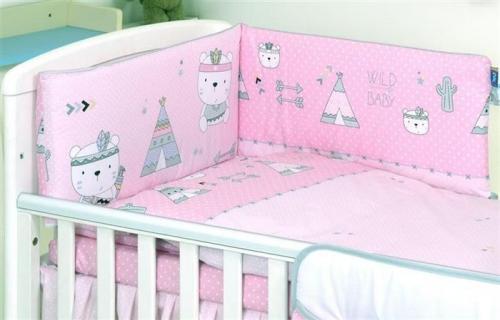 Jolie aparatoare patut indi pink - 180*35cm - Camera bebelusului - Lenjerii patut