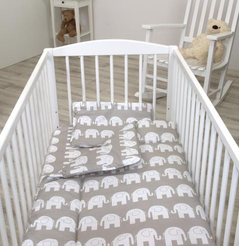 Jolie lenjerie 3 piese elephant gri - 140*70cm - Camera bebelusului - Lenjerii patut