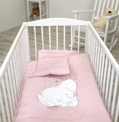 Jolie lenjerie 3 piese elephant light pink - 120*60cm - Camera bebelusului - Lenjerii patut