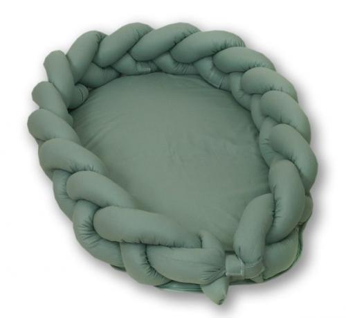 Jolie - protectie impletita pentru patut si baby nest pure salvia - 240*21cm - Camera bebelusului - Lenjerii patut