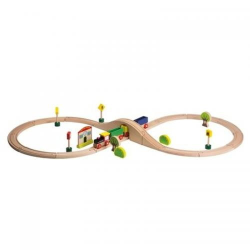 Joueco - Set tren cu sine si accesorii - 30 piese - Jucarii Montessori -