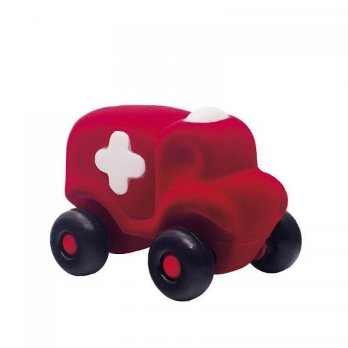 Jucarie cauciuc natural Ambulanta - medie - rosie - Rubbabu - Jucarii copilasi - Avioane jucarie