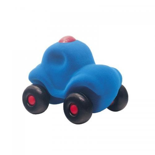 Jucarie cauciuc natural Masina de politie - albastra - medie - Rubbabu - Jucarii copilasi - Avioane jucarie