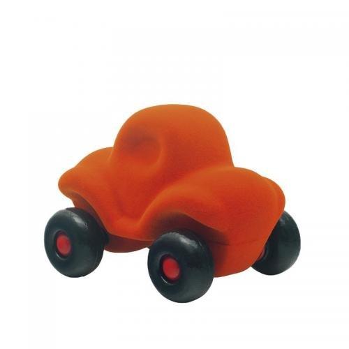 Jucarie cauciuc natural Masinuta haioasa - medie - portocalie - Rubbabu - Jucarii copilasi - Avioane jucarie