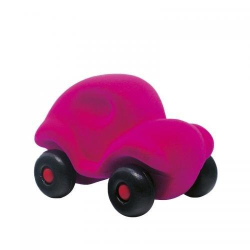 Jucarie cauciuc natural Masinuta - medie - roz - Rubbabu - Jucarii copilasi - Avioane jucarie