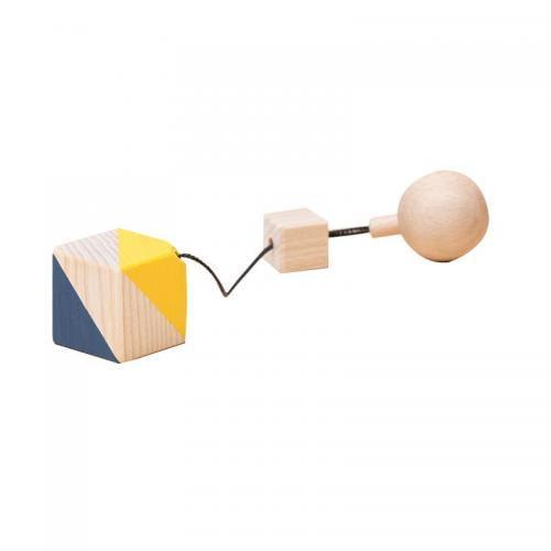 Jucarie din lemn corp geometric cub - colorat - pentru carusel / centru de activitati - Mobbli - Jucarii copilasi -
