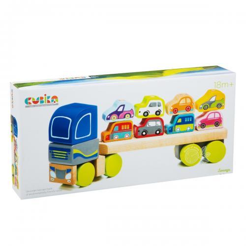 """Jucarie din lemn - cubika - """"camion pentru masini"""" - Jucarii copilasi - Jucarii educative bebe"""