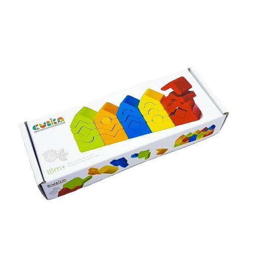 """Jucarie din lemn cubika - set de constructii """"turnuri"""" - Jucarii Montessori -"""
