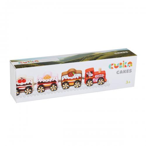 Jucarie din lemn - cubika - trenuletul cu prajituri - Jucarii copilasi - Avioane jucarie