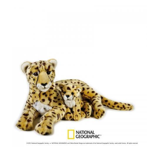 Jucarie din plus National Geographic Ghepard cu pui 50cm - Jucarii copilasi - Jucarii din plus