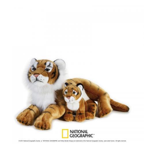 Jucarie din plus National Geographic Tigru cu pui 48cm - Jucarii copilasi - Jucarii din plus