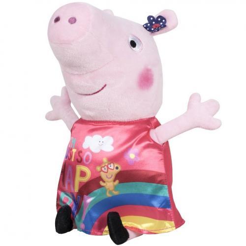 Jucarie din plus peppa pig cu rochie din satin - just so happy - 17 cm - Jucarii copilasi - Jucarii din plus