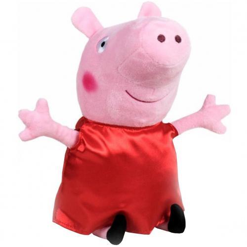 Jucarie din plus peppa pig cu rochie rosie din satin - 25 cm - Jucarii copilasi - Jucarii din plus