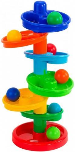 Jucarie interactiva bebelusi Globo Vitamina G 05260 Turn multicolor cu 7 bile - Jucarii copilasi - Arta indemanare